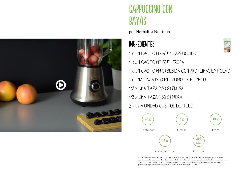 Receta de batido Herbalife Cappuccino con Bayas